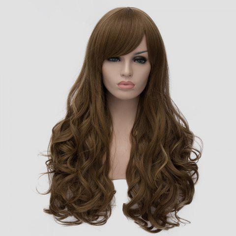 Shop Elegant Side Bang Fluffy Wavy Long Flax Cyan Synthetic Universal Women's Cosplay Wig - FLAX  Mobile