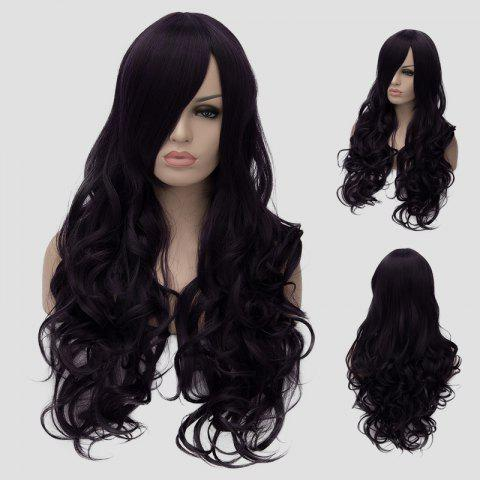 Shop Gorgeous Long Side Bang Fluffy Wave Atropurpureus Synthetic Universal Women's Cosplay Wig - BLACK AND PURPLE  Mobile