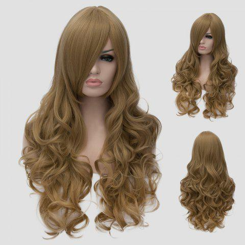 Unique Charming Flaxen Long Shaggy Wave Side Bang Synthetic Cosplay Wig For Women