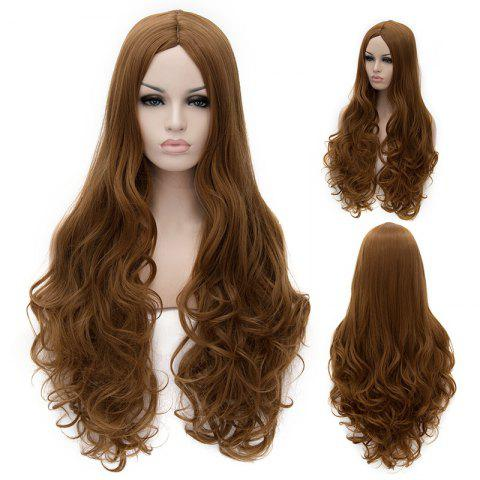 Discount Elegant Extra Long Centre Parting Fluffy Wavy Brown Synthetic Women's Cosplay Wig