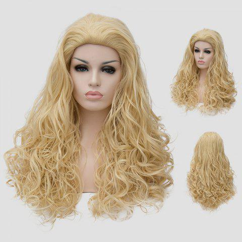 Unique Shaggy Curly Light Blonde Synthetic Stunning Long Capless Cosplay Wig For Women