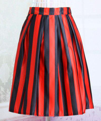 Outfits Stylish Elastic Waist Striped Hit Color Women's Skirt