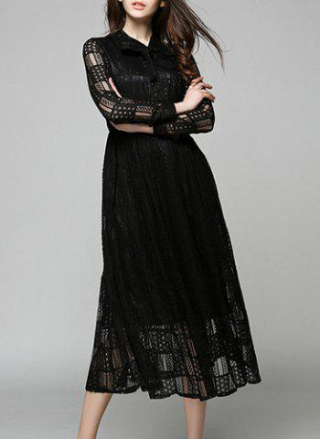 Hot Lace Long Sleeve Flowing Evening Dress