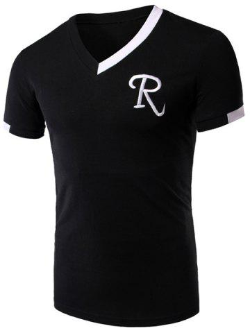 Outfits V-Neck Embroidery Letter Short Sleeve Athletic T-Shirt BLACK M