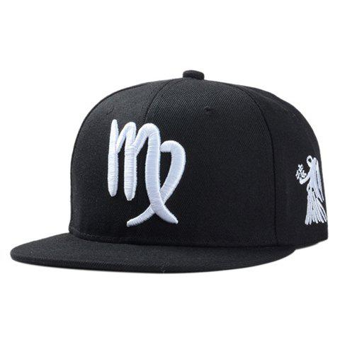 Store Stylish Zodiac Virgo Logo Shape Embroidery Black Baseball Cap For Men