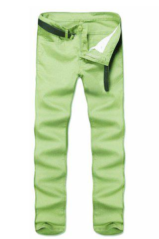 Simple Style Straight Leg Solid Color Zipper Fly Slimming Men's Pants - Green - 28