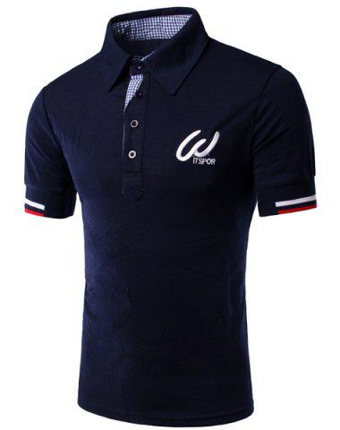 Shops Turn-Down Collar Color Block Rib Splicing Short Sleeve Men's Polo Shirt CADETBLUE L