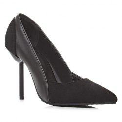 Simple Splicing and Pointed Toe Design Pumps For Women - BLACK