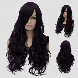 Gorgeous Long Side Bang Fluffy Wave Atropurpureus Synthetic Universal Women's Cosplay Wig