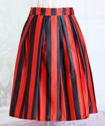 Stylish Elastic Waist Striped Hit Color Women's Skirt -