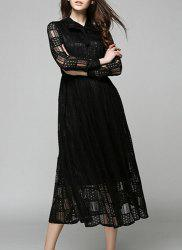 Lace Long Sleeve Flowing Evening Dress -
