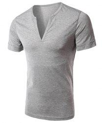 Simple Style V-Neck Solid Color Short Sleeve Men's T-Shirt - LIGHT GRAY L