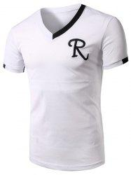 V-Neck Embroidery Letter Short Sleeve Athletic T-Shirt -