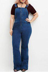 Brief Blue Zippered Denim Overalls For Women