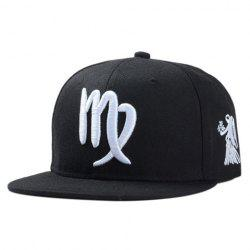 Stylish Zodiac Virgo Logo Shape Embroidery Black Baseball Cap For Men -
