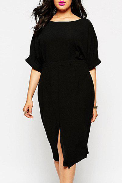 Affordable OL Style Scoop Neck Open Front Half Sleeve Dress For Women