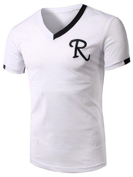 Outfits V-Neck Embroidery Letter Short Sleeve Athletic T-Shirt