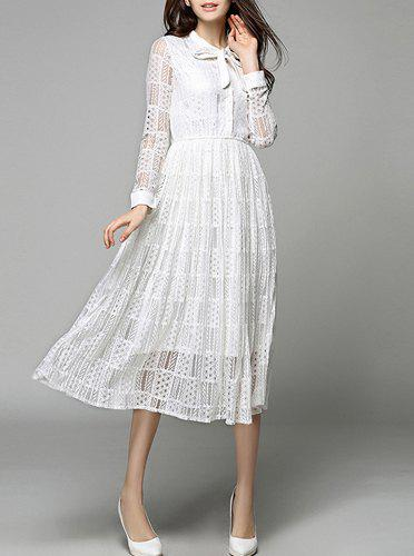 Chic Lace Long Sleeve Swing Wedding Dress