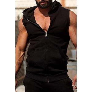 Fashion Hooded Double Pocket Solid Color Sleeveless Fitted Waistcoat For Men - Black - 2xl