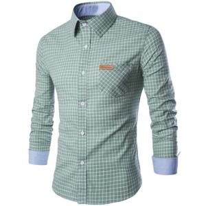 PU Leather Spliced One Pocket Hit Color Shirt Collar Long Sleeves Checked Shirt For Men - Green - 2xl