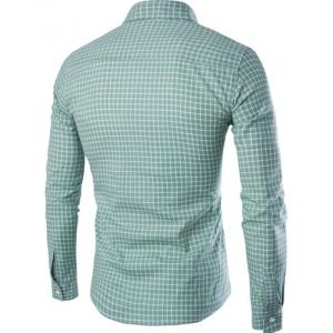PU Leather Spliced One Pocket Hit Color Shirt Collar Long Sleeves Checked Shirt For Men - GREEN M