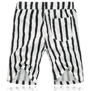 Lace Up Loose Stripe Fifth Pants Beach Shorts For Men -