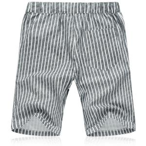 Lace Up Loose Vertical Stripe Fifth Pants Beach Shorts For Men -
