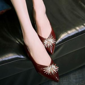 Elegant Rhinestone and Patent Leather Design Flat Shoes For Women -
