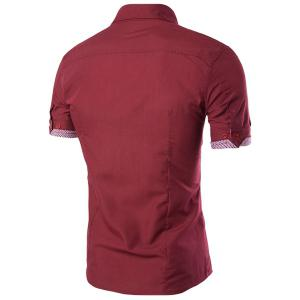 Fake Flap Pocket Plaid Spliced Slimming Shirt Collar Short Sleeves Button-Down Shirt For Men - WINE RED L