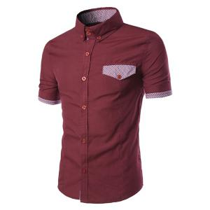 Fake Flap Pocket Plaid Spliced Slimming Shirt Collar Short Sleeves Button-Down Shirt For Men