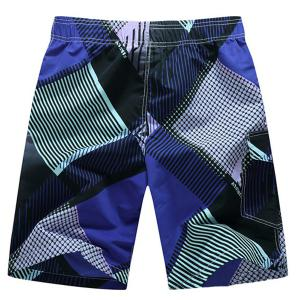 Straight Leg Drawstring Geometric Print Flap Patch Pokect  Men's Board Shorts -