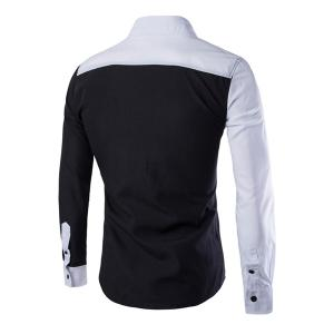 Color Block Slimming Shirt Collar Long Sleeves Cool Shirt For Men -