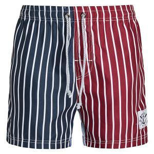 Straight Leg Drawstring Color Block Splicing Vertical Stripes Print  Men's Board Shorts - Colormix - Xl