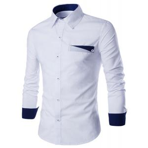Special One Pocket Color Splicing Shirt Collar Long Sleeves Slimming Shirt For Men -