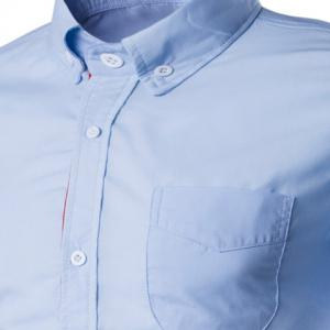 Simple Braid Spliced ​​One Pocket Slimming Shirt Chemise à col manches courtes Button-Down For Men -