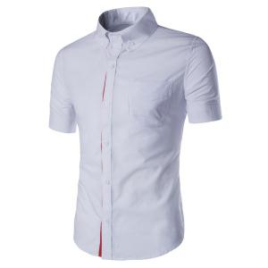 Simple Braid Spliced One Pocket Slimming Shirt Collar Short Sleeves Button-Down Shirt For Men - White - 2xl