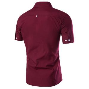 Simple Braid Spliced One Pocket Slimming Shirt Collar Short Sleeves Button-Down Shirt For Men - WINE RED XL