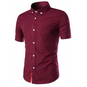Simple Braid Spliced One Pocket Slimming Shirt Collar Short Sleeves Button-Down Shirt For Men