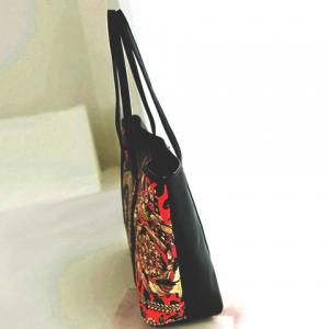 Vintage Floral Print and Splicing Design Women's Leather Handbag -