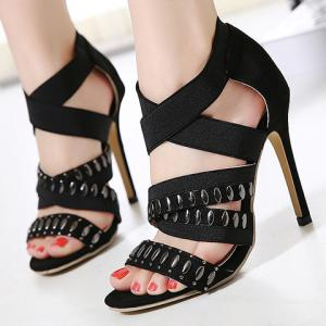 Stylish Elastic Band and Black Design Sandals For Women -