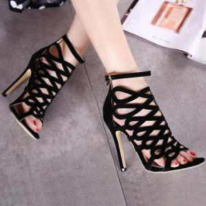 High Heel Caged Sandals with Ankle Strap -