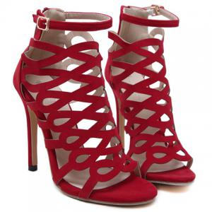 High Heel Caged Sandals with Ankle Strap - RED 36