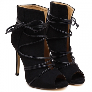 Trendy Lace-Up and Peep Toe Design Pumps For Women -