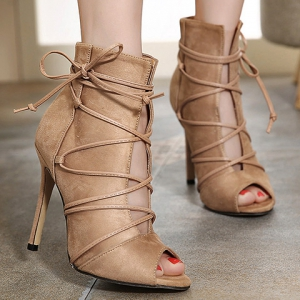 Trendy Lace-Up and Peep Toe Design Pumps For Women - KHAKI 38