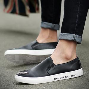 Fashion PU Leather and Metal Design Casual Shoes For Men - BLACK 43