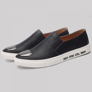 Fashion PU Leather and Metal Design Casual Shoes For Men -