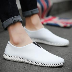 Faux Leather Slip On Sneakers - WHITE 41