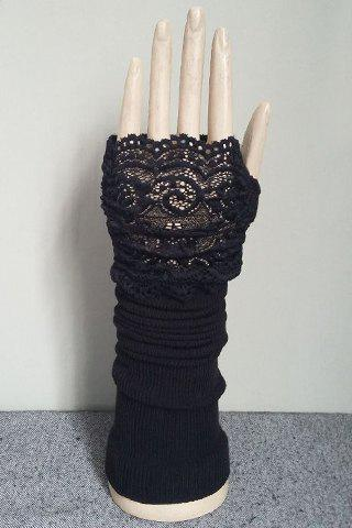 Store Pair of Chic Hollow Out Lace Edge Black Knitted Fingerless Gloves For Women