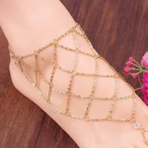 Fancy 1 Piece Fishing Net Pattern Fancy Anklets GOLDEN