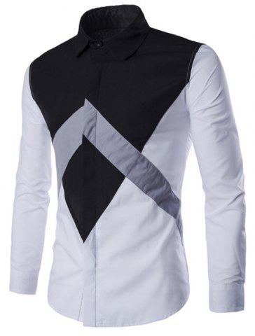 Online Special Color Lump Spliced Plain Fly Shirt Collar Long Sleeves Slim Fit Shirt For Men